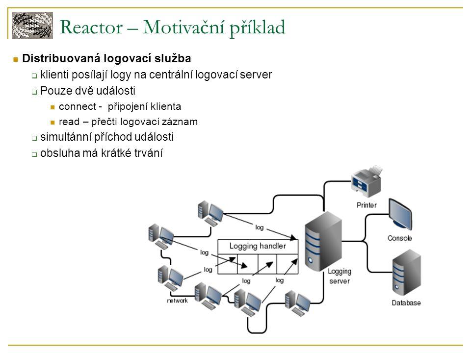 Reactor – Motivační příklad Distribuovaná logovací služba  klienti posílají logy na centrální logovací server  Pouze dvě události connect - připojení klienta read – přečti logovací záznam  simultánní příchod události  obsluha má krátké trvání