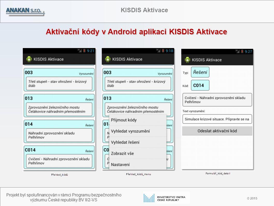 Aktivační kódy v Android aplikaci KISDIS Aktivace © 2015 Projekt byl spolufinancován v rámci Programu bezpečnostního výzkumu České republiky BV II/2-V