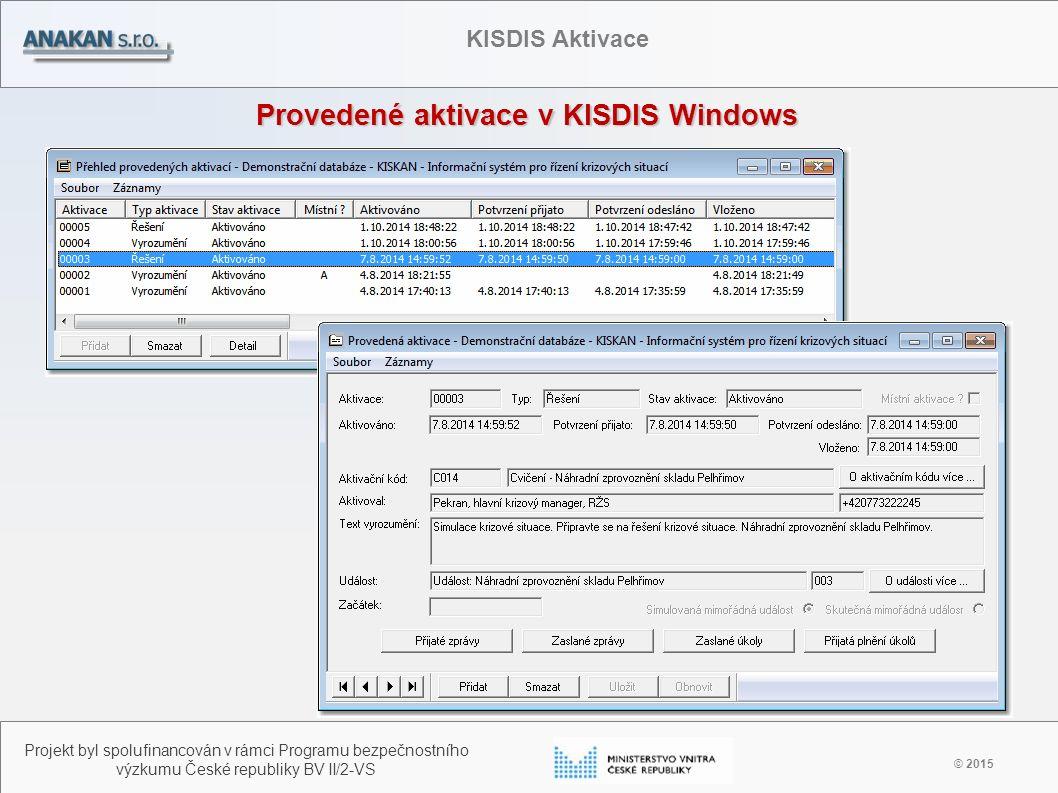 Provedené aktivace v KISDIS Windows © 2015 Projekt byl spolufinancován v rámci Programu bezpečnostního výzkumu České republiky BV II/2-VS KISDIS Aktiv