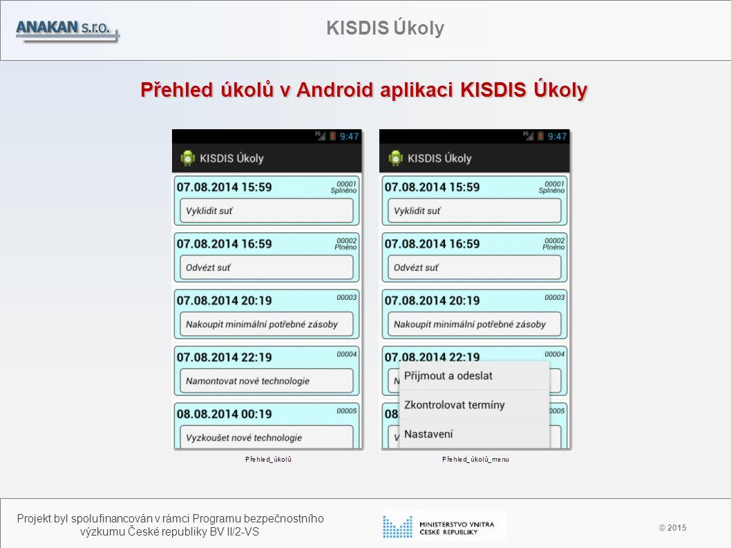 Přehled úkolů v Android aplikaci KISDIS Úkoly © 2015 Projekt byl spolufinancován v rámci Programu bezpečnostního výzkumu České republiky BV II/2-VS KI