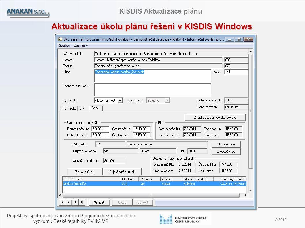 Aktualizace úkolu plánu řešení v KISDIS Windows © 2015 Projekt byl spolufinancován v rámci Programu bezpečnostního výzkumu České republiky BV II/2-VS KISDIS Aktualizace plánu