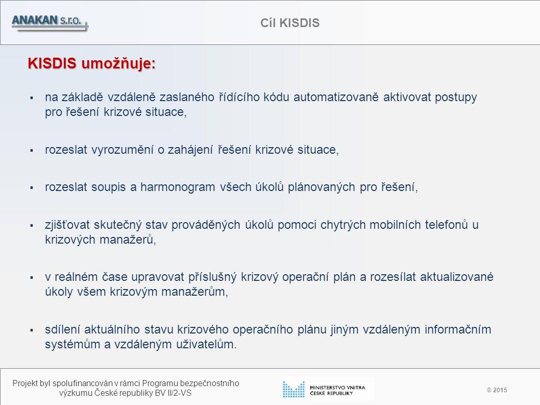 Využití KISDIS v procesech krizových zákonů ČR © 2015 Projekt byl spolufinancován v rámci Programu bezpečnostního výzkumu České republiky BV II/2-VS Doména KISDIS Integr.