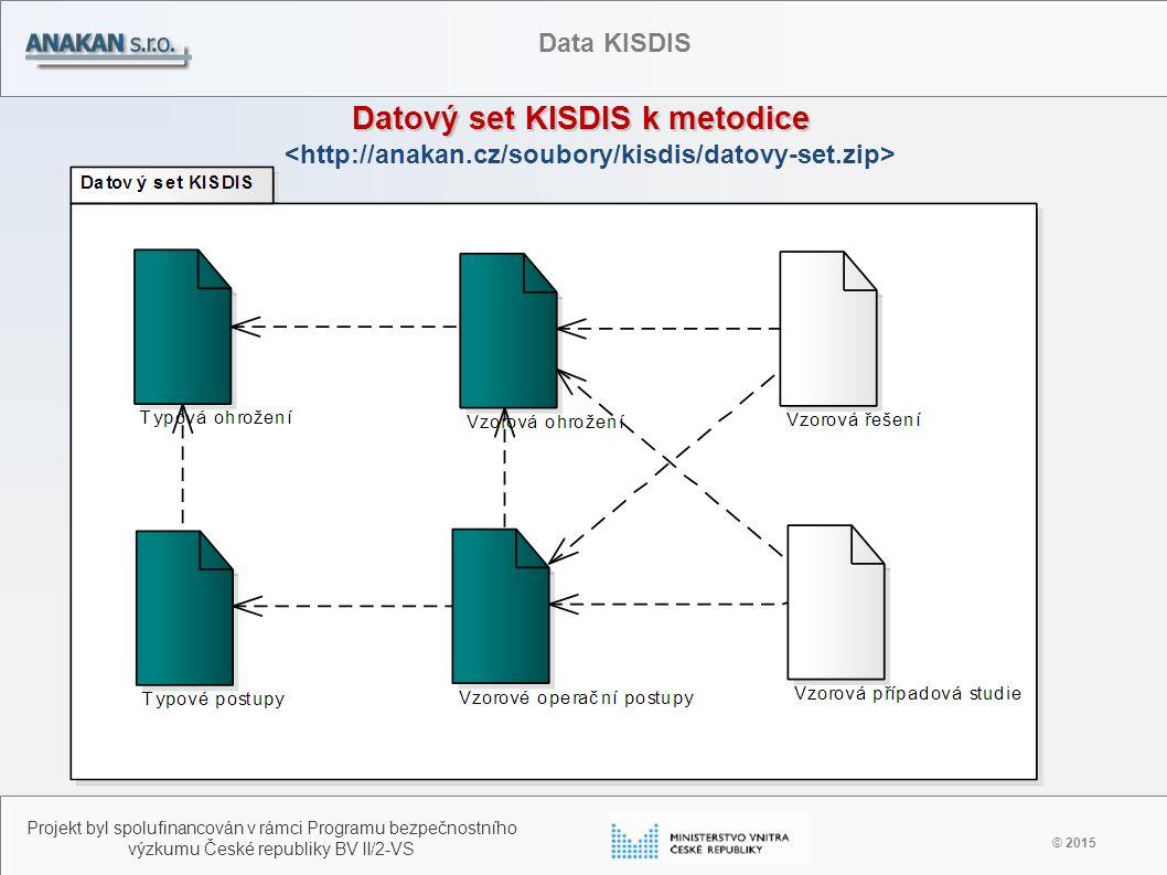 Datový set KISDIS k metodice © 2015 Projekt byl spolufinancován v rámci Programu bezpečnostního výzkumu České republiky BV II/2-VS Data KISDIS