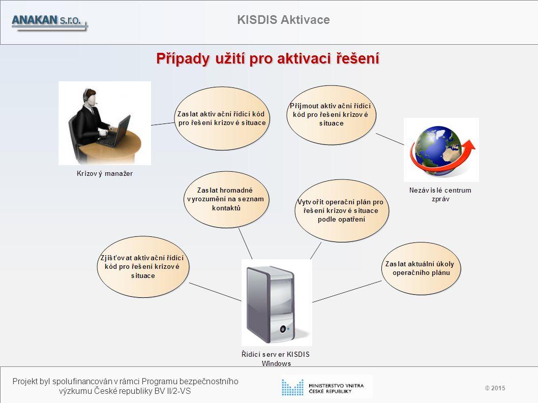 Případy užití pro aktivaci řešení © 2015 Projekt byl spolufinancován v rámci Programu bezpečnostního výzkumu České republiky BV II/2-VS KISDIS Aktivac