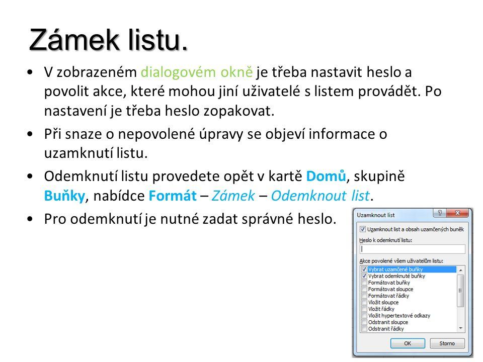 Zámek listu. V zobrazeném dialogovém okně je třeba nastavit heslo a povolit akce, které mohou jiní uživatelé s listem provádět. Po nastavení je třeba
