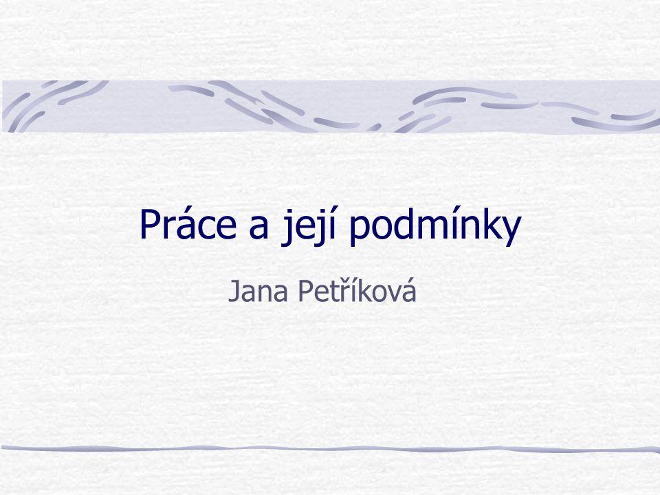 Práce a její podmínky Jana Petříková