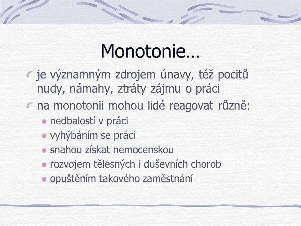 Monotonie… je významným zdrojem únavy, též pocitů nudy, námahy, ztráty zájmu o práci na monotonii mohou lidé reagovat různě: nedbalostí v práci vyhýbá