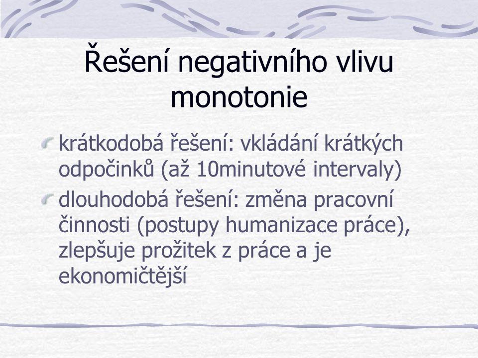Řešení negativního vlivu monotonie krátkodobá řešení: vkládání krátkých odpočinků (až 10minutové intervaly) dlouhodobá řešení: změna pracovní činnosti