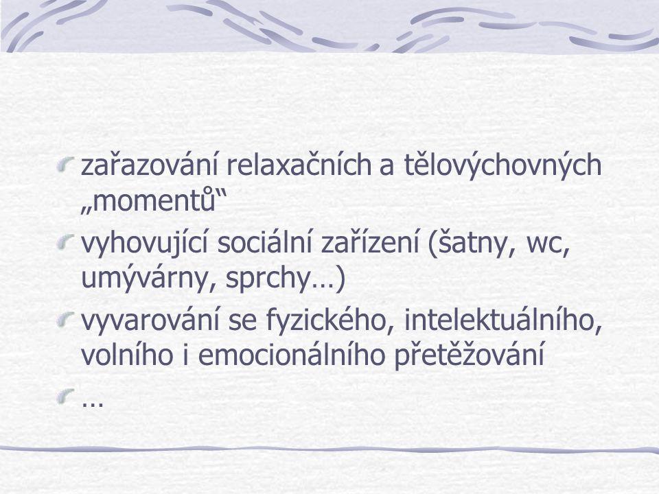 """zařazování relaxačních a tělovýchovných """"momentů"""" vyhovující sociální zařízení (šatny, wc, umývárny, sprchy…) vyvarování se fyzického, intelektuálního"""