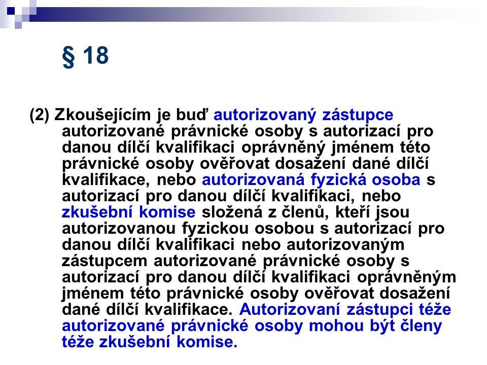 § 18 (2) Zkoušejícím je buď autorizovaný zástupce autorizované právnické osoby s autorizací pro danou dílčí kvalifikaci oprávněný jménem této právnick
