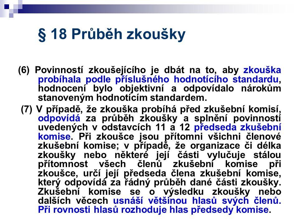 § 18 Průběh zkoušky (6) Povinností zkoušejícího je dbát na to, aby zkouška probíhala podle příslušného hodnotícího standardu, hodnocení bylo objektivn