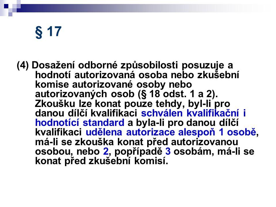 § 17 (4) Dosažení odborné způsobilosti posuzuje a hodnotí autorizovaná osoba nebo zkušební komise autorizované osoby nebo autorizovaných osob (§ 18 od