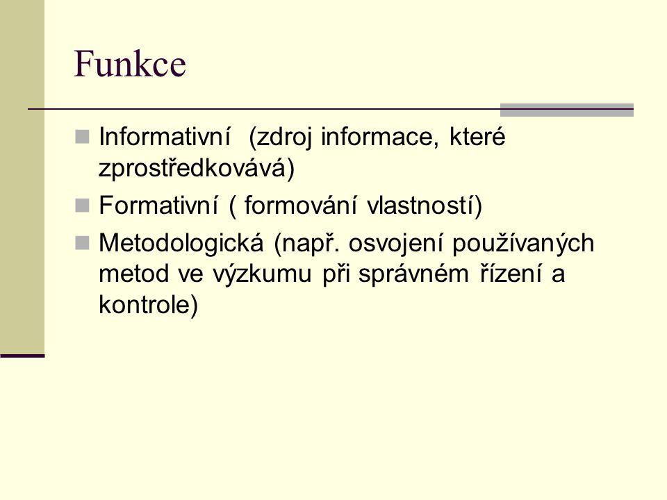 Funkce Informativní (zdroj informace, které zprostředkovává) Formativní ( formování vlastností) Metodologická (např.