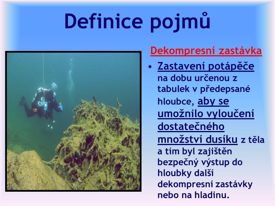 Definice pojmů Dekompresní zastávka Zastavení potápěče na dobu určenou z tabulek v předepsané hloubce, aby se umožnilo vyloučení dostatečného množství dusíku z těla a tím byl zajištěn bezpečný výstup do hloubky další dekompresní zastávky nebo na hladinu.