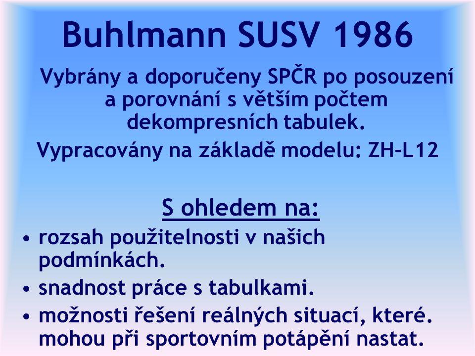 Buhlmann SUSV 1986 Vybrány a doporučeny SPČR po posouzení a porovnání s větším počtem dekompresních tabulek.