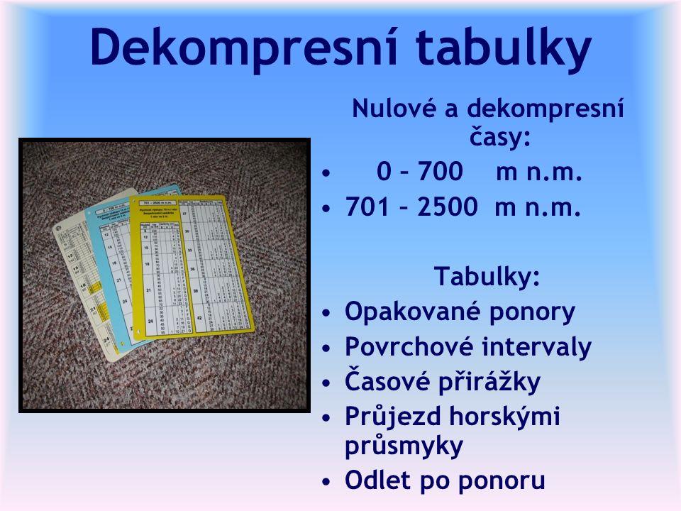 Dekompresní tabulky Nulové a dekompresní časy: 0 – 700 m n.m.