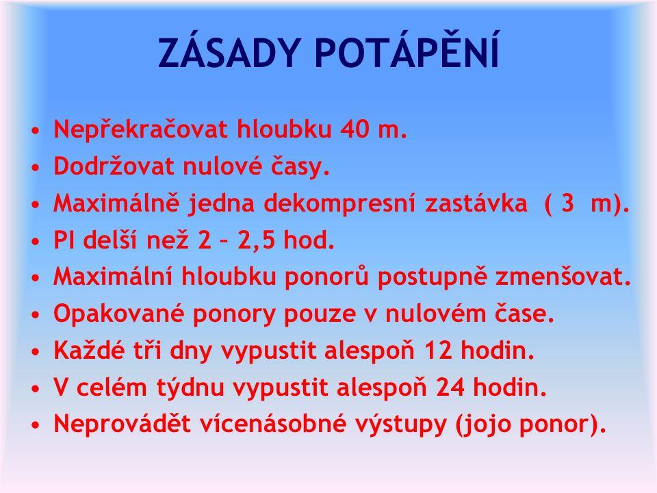ZÁSADY POTÁPĚNÍ Nepřekračovat hloubku 40 m. Dodržovat nulové časy.