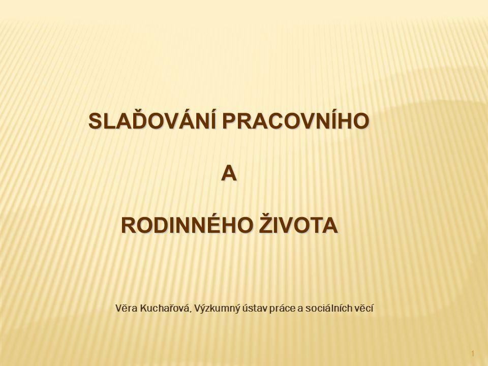 1 Věra Kuchařová, Výzkumný ústav práce a sociálních věcí SLAĎOVÁNÍ PRACOVNÍHO A RODINNÉHO ŽIVOTA