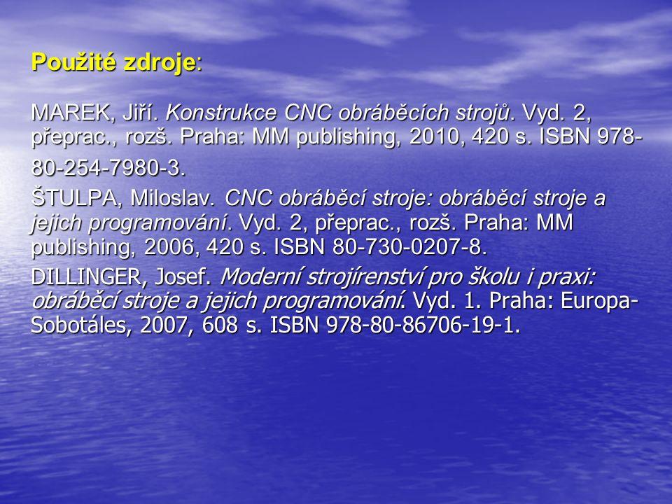 Použité zdroje: MAREK, Jiří. Konstrukce CNC obráběcích strojů. Vyd. 2, přeprac., rozš. Praha: MM publishing, 2010, 420 s. ISBN 978- 80-254-7980-3. ŠTU