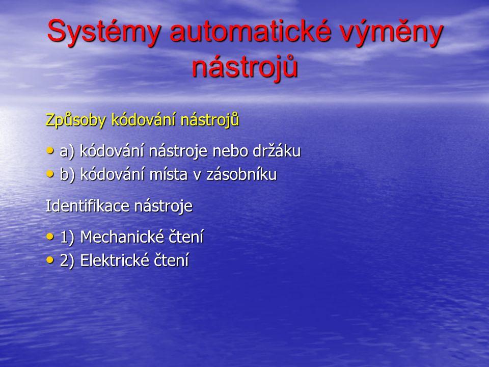 Systémy automatické výměny nástrojů Způsoby kódování nástrojů a) kódování nástroje nebo držáku a) kódování nástroje nebo držáku b) kódování místa v zásobníku b) kódování místa v zásobníku Identifikace nástroje 1) Mechanické čtení 1) Mechanické čtení 2) Elektrické čtení 2) Elektrické čtení