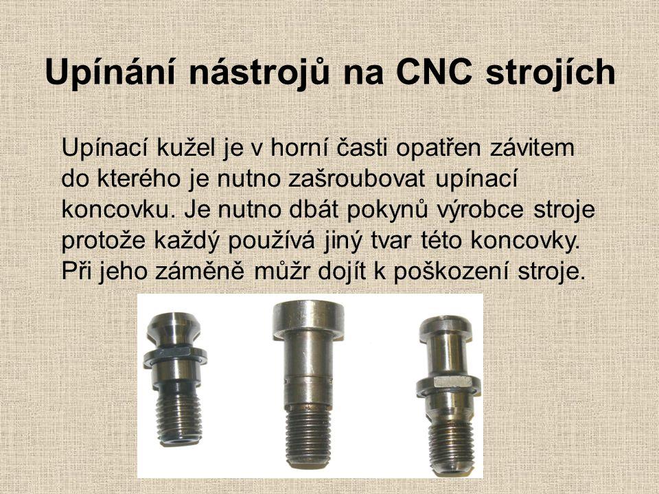Upínání nástrojů na CNC strojích Upínací kužel je v horní časti opatřen závitem do kterého je nutno zašroubovat upínací koncovku.