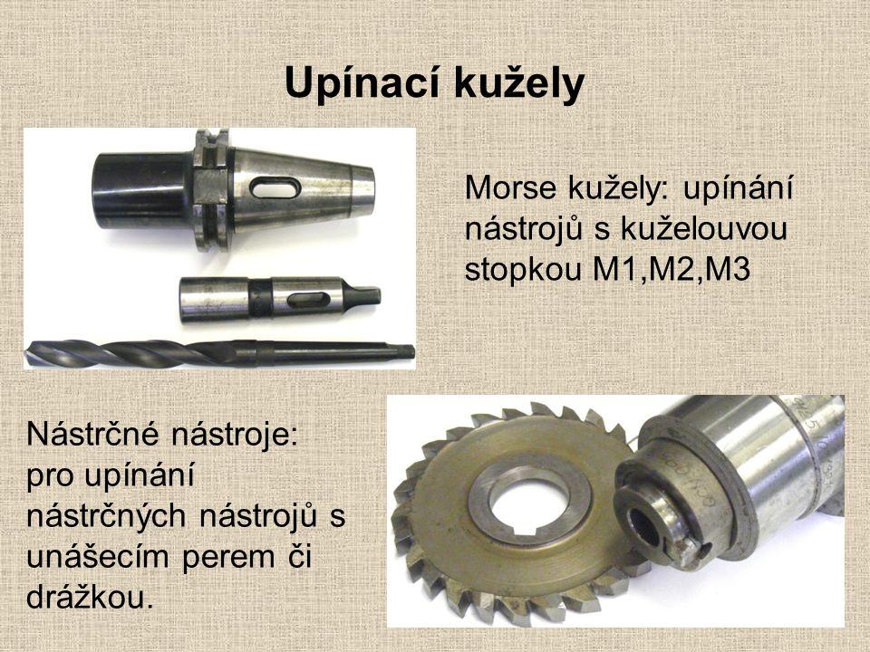 Upínací kužely Morse kužely: upínání nástrojů s kuželouvou stopkou M1,M2,M3 Nástrčné nástroje: pro upínání nástrčných nástrojů s unášecím perem či drážkou.