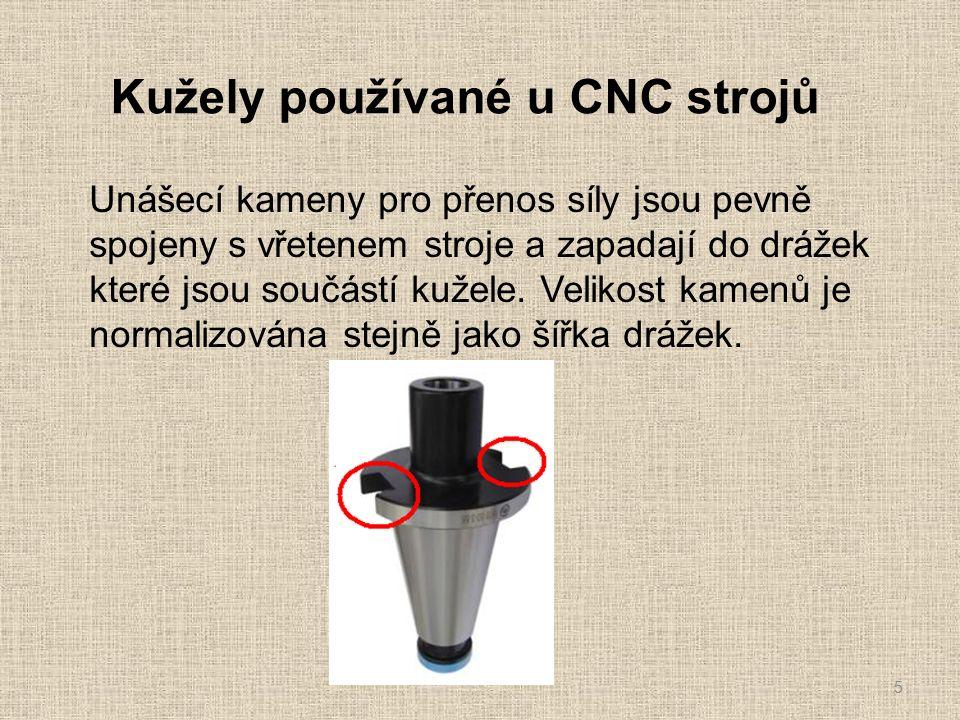 Kužely používané u CNC strojů 5 Unášecí kameny pro přenos síly jsou pevně spojeny s vřetenem stroje a zapadají do drážek které jsou součástí kužele.