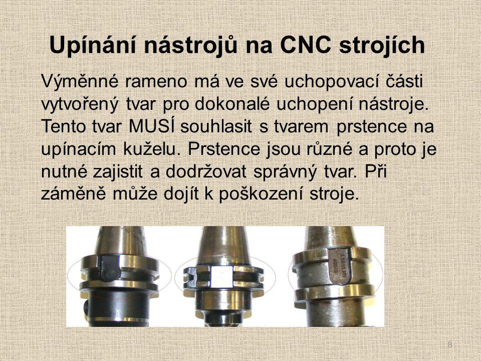 Upínání nástrojů na CNC strojích 8 Výměnné rameno má ve své uchopovací části vytvořený tvar pro dokonalé uchopení nástroje.