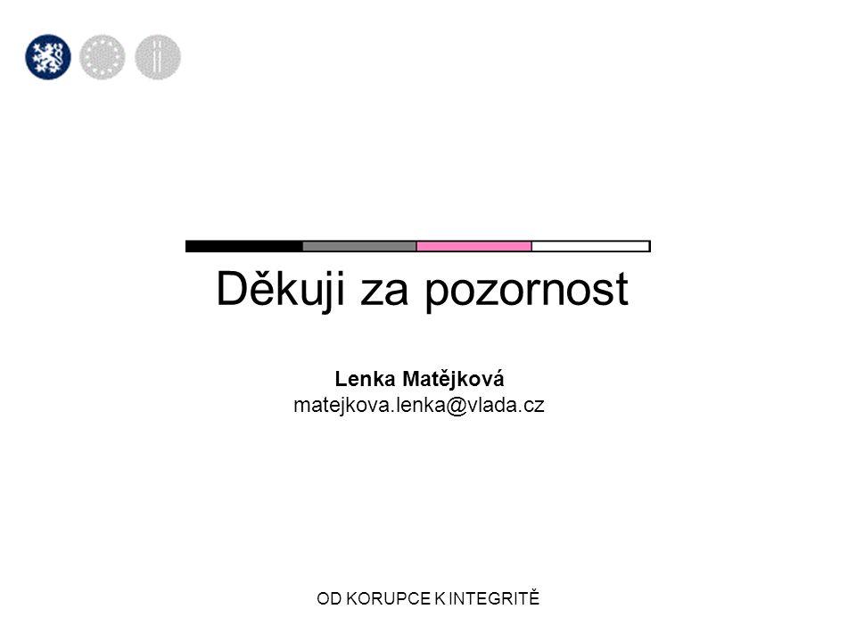 OD KORUPCE K INTEGRITĚ Děkuji za pozornost Lenka Matějková matejkova.lenka@vlada.cz