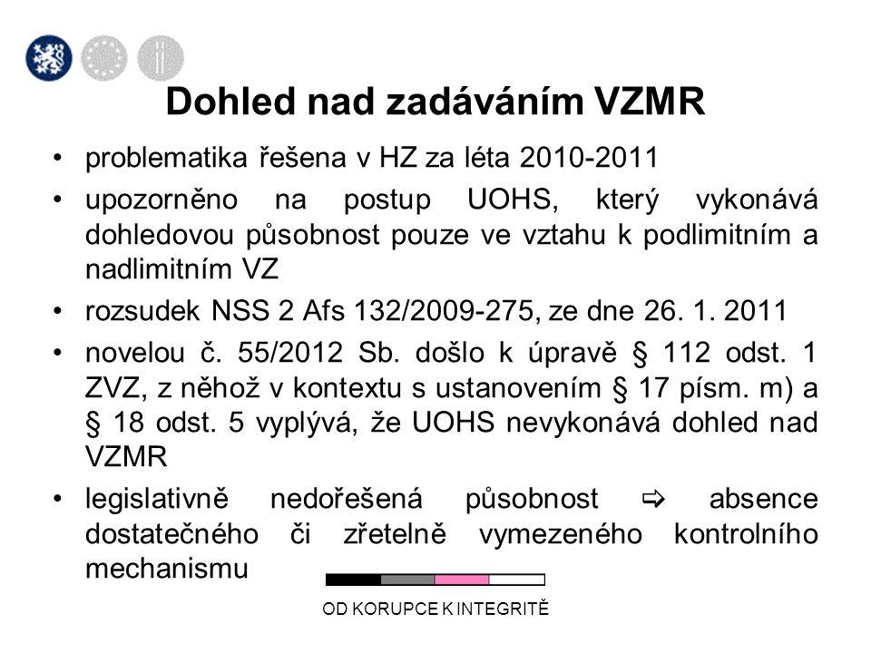 problematika řešena v HZ za léta 2010-2011 upozorněno na postup UOHS, který vykonává dohledovou působnost pouze ve vztahu k podlimitním a nadlimitním VZ rozsudek NSS 2 Afs 132/2009-275, ze dne 26.