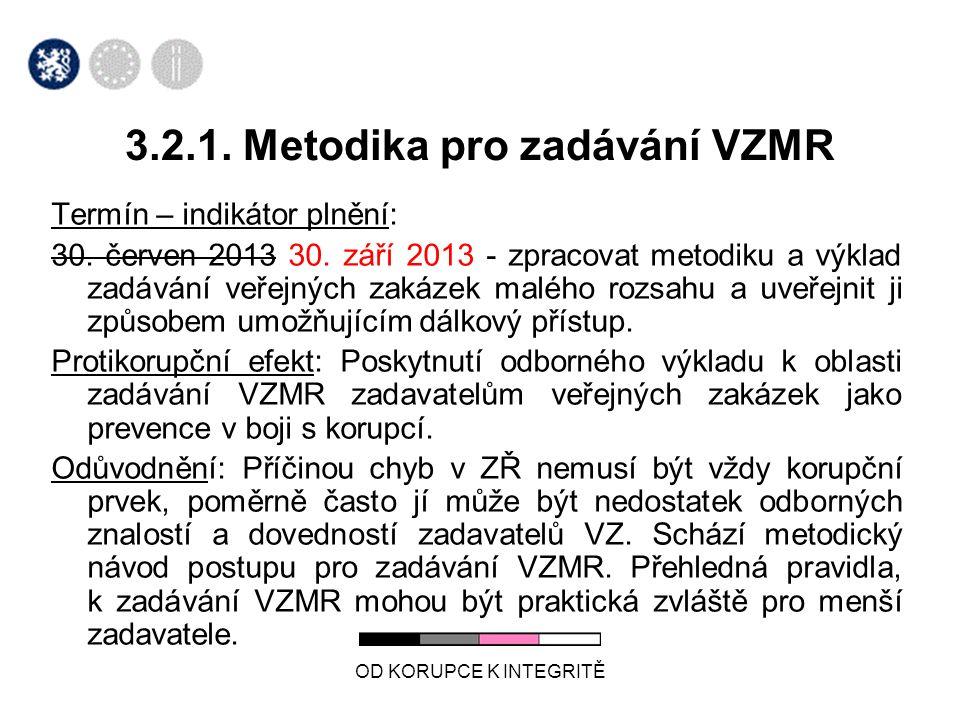 OD KORUPCE K INTEGRITĚ 3.2.1. Metodika pro zadávání VZMR Termín – indikátor plnění: 30.