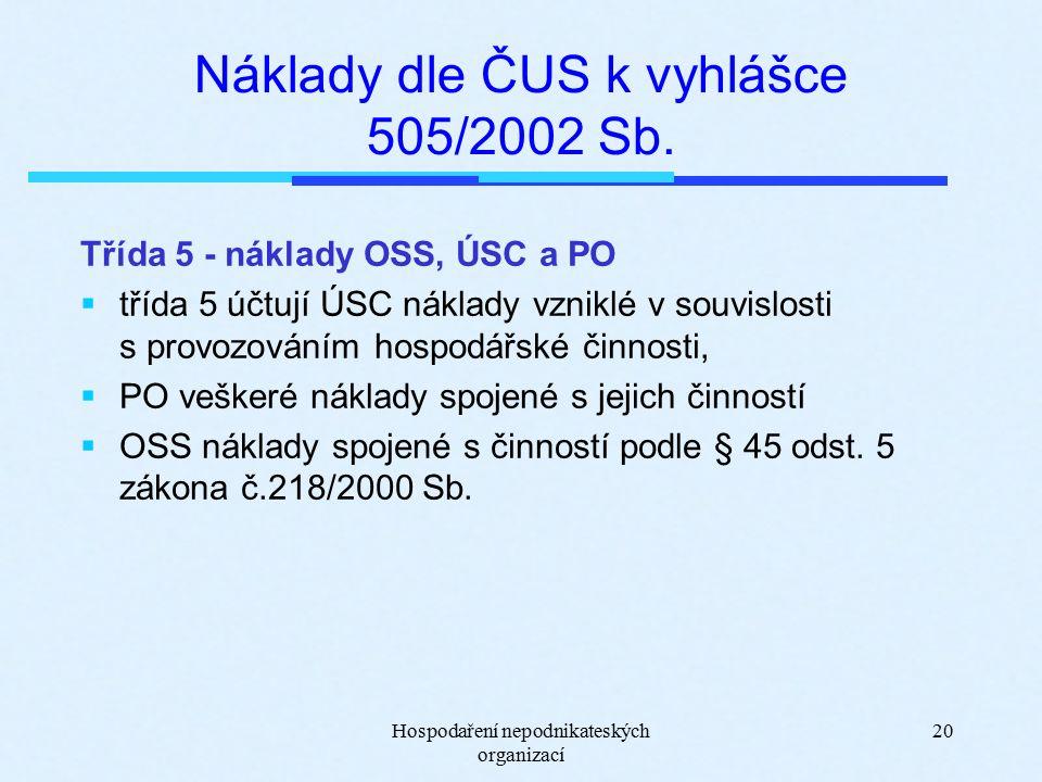 Hospodaření nepodnikateských organizací 20 Náklady dle ČUS k vyhlášce 505/2002 Sb.