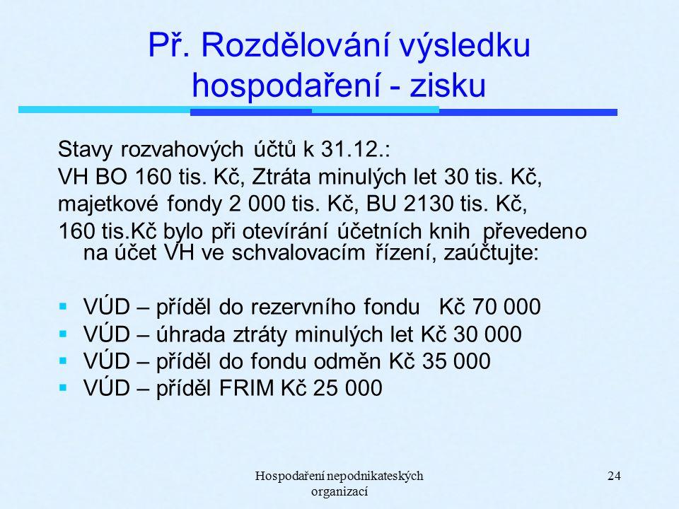 Hospodaření nepodnikateských organizací 24 Př.