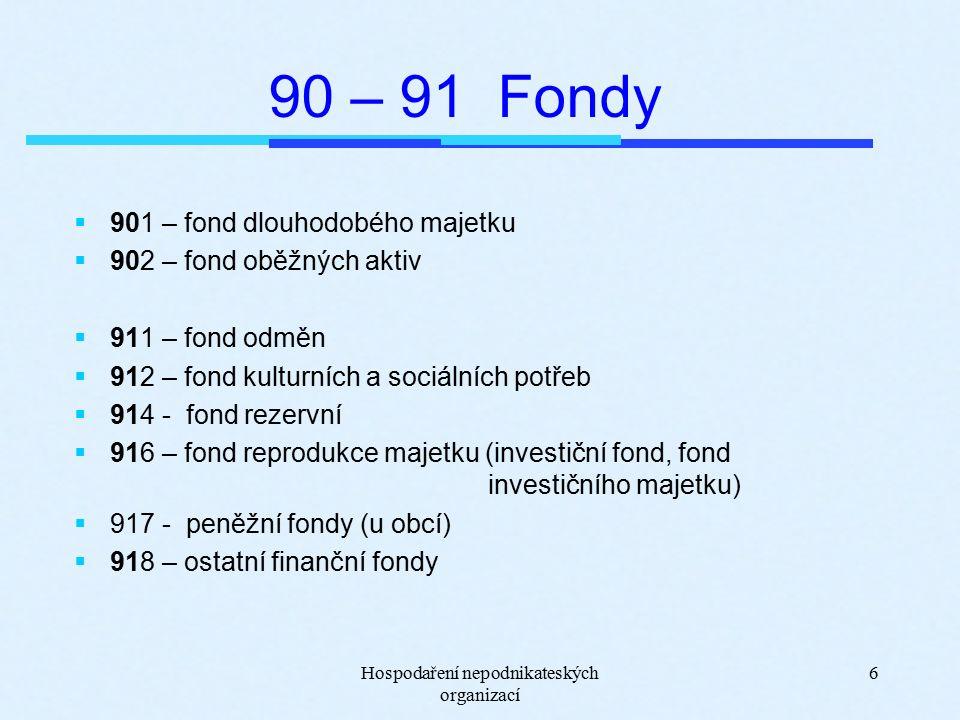 Hospodaření nepodnikateských organizací 7 Majetkové fondy Zdroje krytí DM a OA  Fond dlouhodobého majetku (901) představuje tvorbu zdrojů k profinancovanému DM – vlastní zdroj krytí DM, Zdroje fondu: - bezúplatně přijatý DM - tvorba zdrojů k DM převodem z 916 a 914 Čerpání fondu: - zůstatková cena DM při jeho vyřazení - vypořádání mezi zdroji krytí ve výši odpisů DM převodem na 916  Fond oběžných aktiv (902) – zdroj krytí OA Zdroje fondu: - přírůstky bezúplatně převzatých OA Čerpání fondu: - úbytky bezúplatně předaných OA