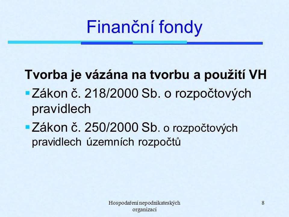 Hospodaření nepodnikateských organizací 8 Finanční fondy Tvorba je vázána na tvorbu a použití VH  Zákon č.