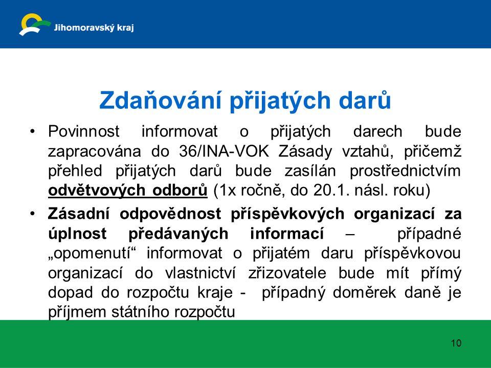 Zdaňování přijatých darů Povinnost informovat o přijatých darech bude zapracována do 36/INA-VOK Zásady vztahů, přičemž přehled přijatých darů bude zas