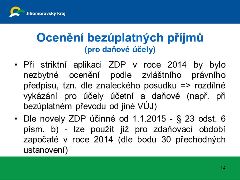 Ocenění bezúplatných příjmů (pro daňové účely) Při striktní aplikaci ZDP v roce 2014 by bylo nezbytné ocenění podle zvláštního právního předpisu, tzn.