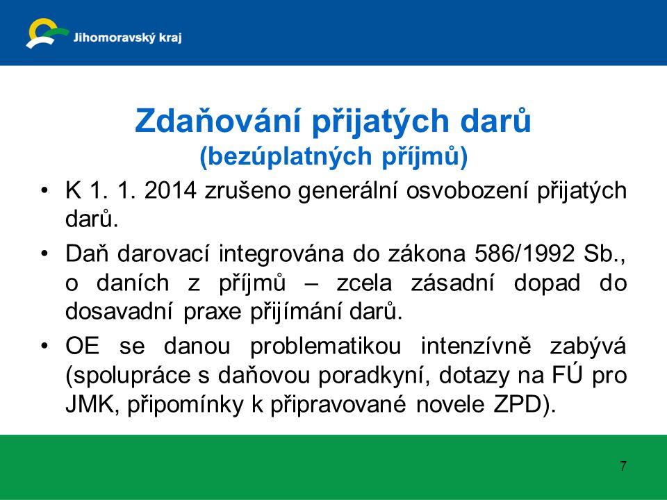 Zdaňování přijatých darů (bezúplatných příjmů) K 1. 1. 2014 zrušeno generální osvobození přijatých darů. Daň darovací integrována do zákona 586/1992 S