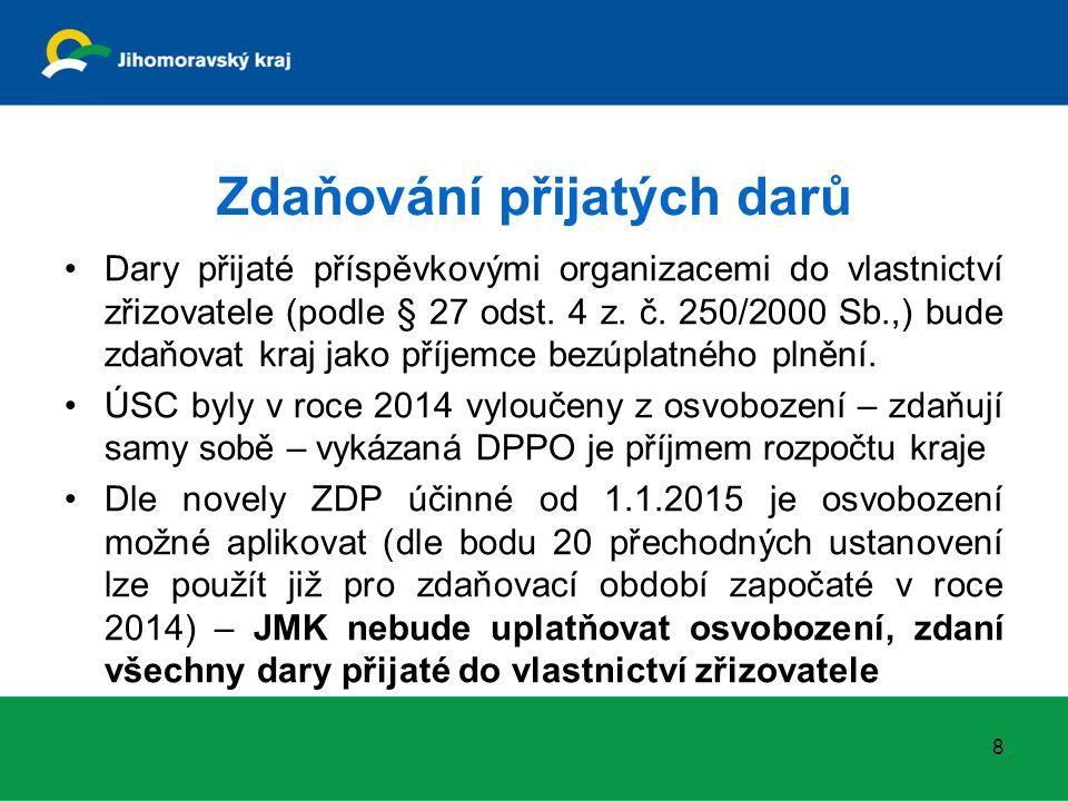 Zdaňování přijatých darů Dary přijaté příspěvkovými organizacemi do vlastnictví zřizovatele (podle § 27 odst. 4 z. č. 250/2000 Sb.,) bude zdaňovat kra