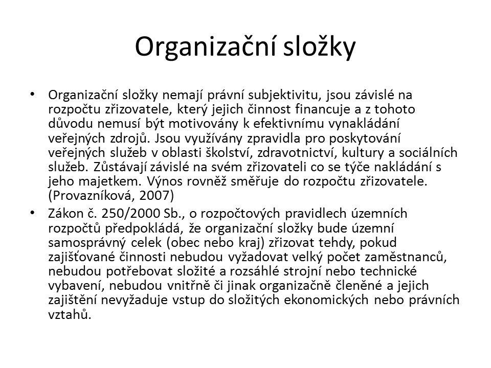 Organizační složky Organizační složky nemají právní subjektivitu, jsou závislé na rozpočtu zřizovatele, který jejich činnost financuje a z tohoto důvodu nemusí být motivovány k efektivnímu vynakládání veřejných zdrojů.