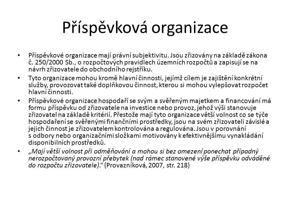 Příspěvková organizace Příspěvkové organizace mají právní subjektivitu.