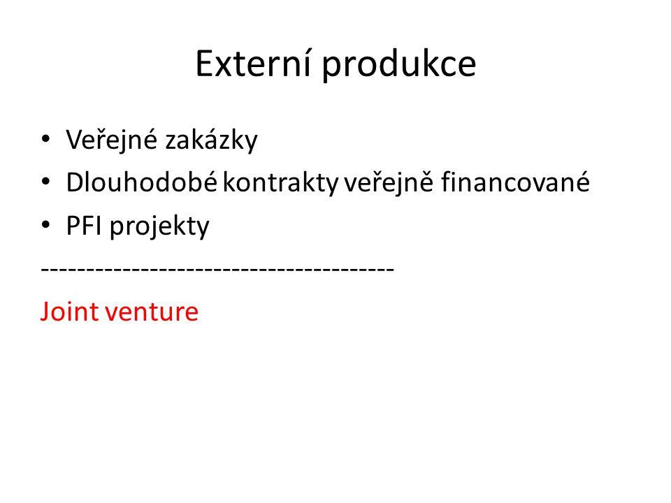 Externí produkce Veřejné zakázky Dlouhodobé kontrakty veřejně financované PFI projekty --------------------------------------- Joint venture