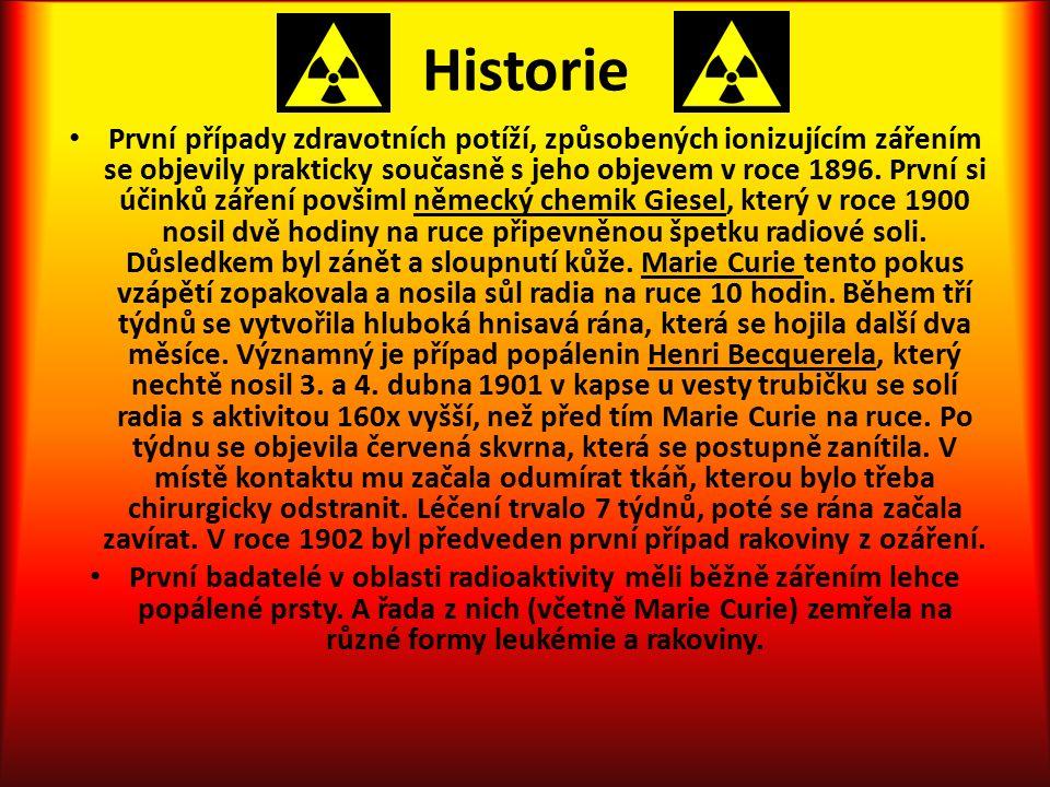 Historie První případy zdravotních potíží, způsobených ionizujícím zářením se objevily prakticky současně s jeho objevem v roce 1896.