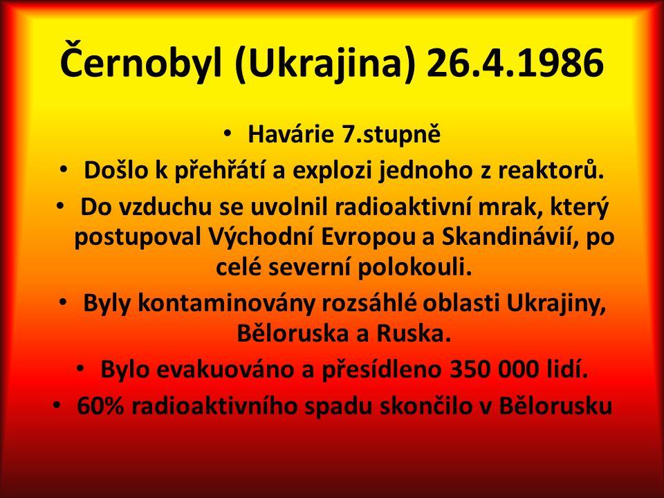 Černobyl (Ukrajina) 26.4.1986 Havárie 7.stupně Došlo k přehřátí a explozi jednoho z reaktorů.