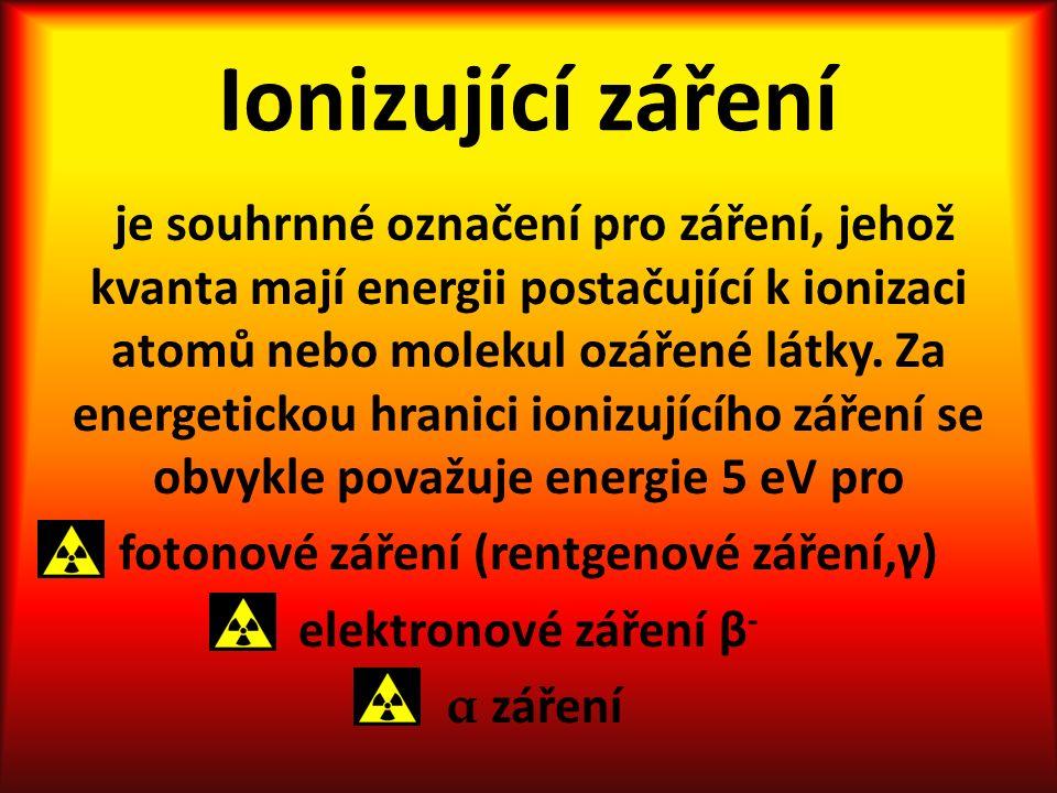 Ionizující záření je souhrnné označení pro záření, jehož kvanta mají energii postačující k ionizaci atomů nebo molekul ozářené látky.