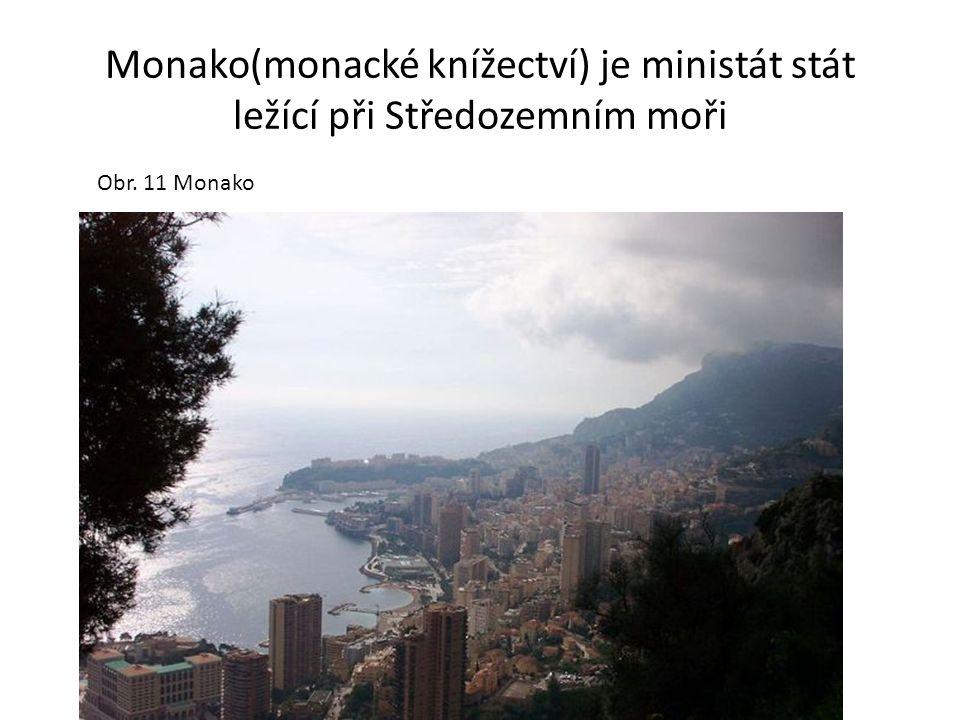 Monako(monacké knížectví) je ministát stát ležící při Středozemním moři Obr. 11 Monako