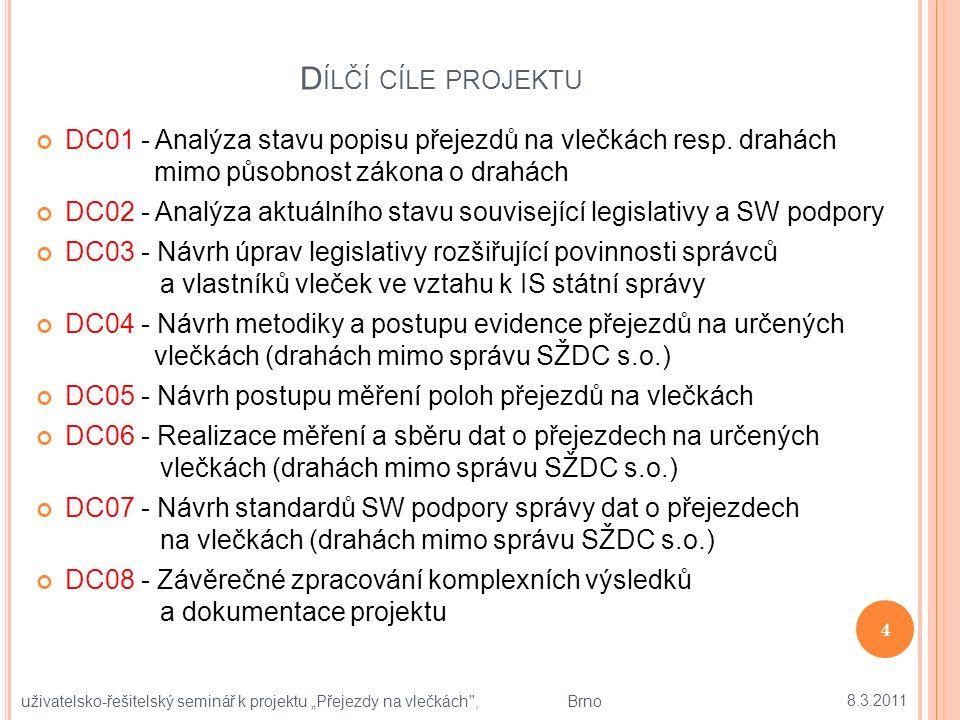 D ÍLČÍ CÍLE PROJEKTU DC01 - Analýza stavu popisu přejezdů na vlečkách resp.