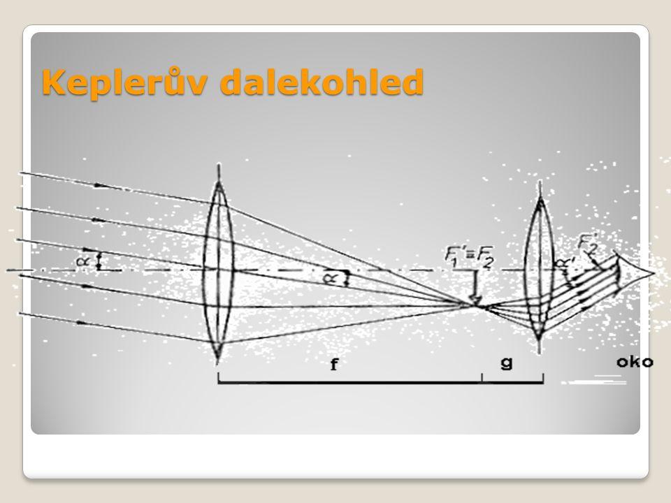 Galileův (holandský) dalekohled spojka a rozptylka o OBJEKTIV – spojka o OKULÁR – rozptylka Vzniká obraz zvětšený a vzpřímený