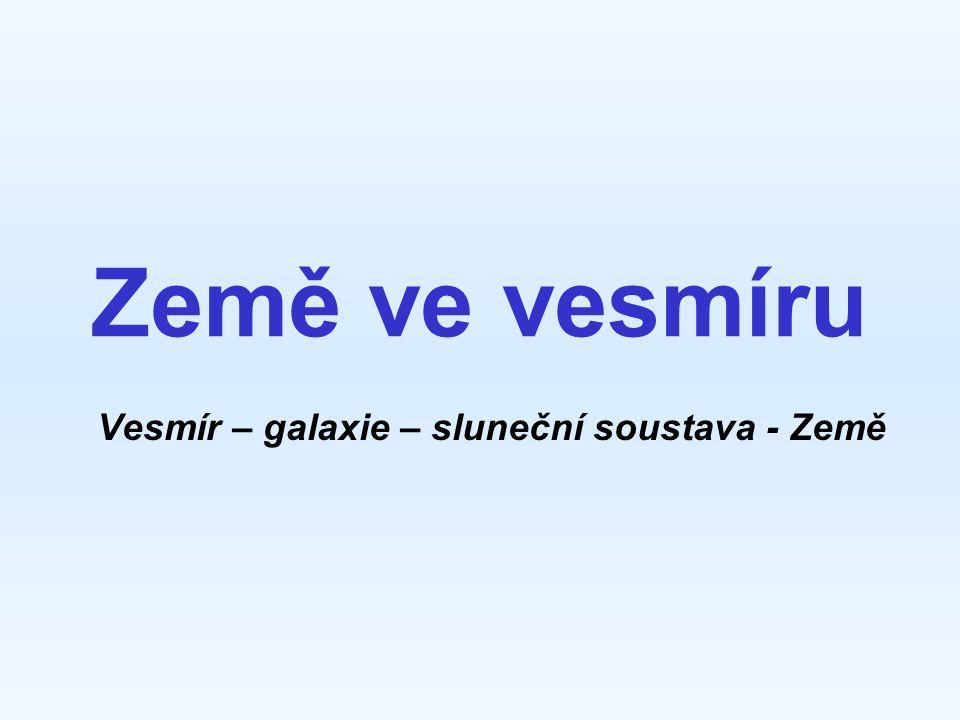 Země ve vesmíru Vesmír – galaxie – sluneční soustava - Země