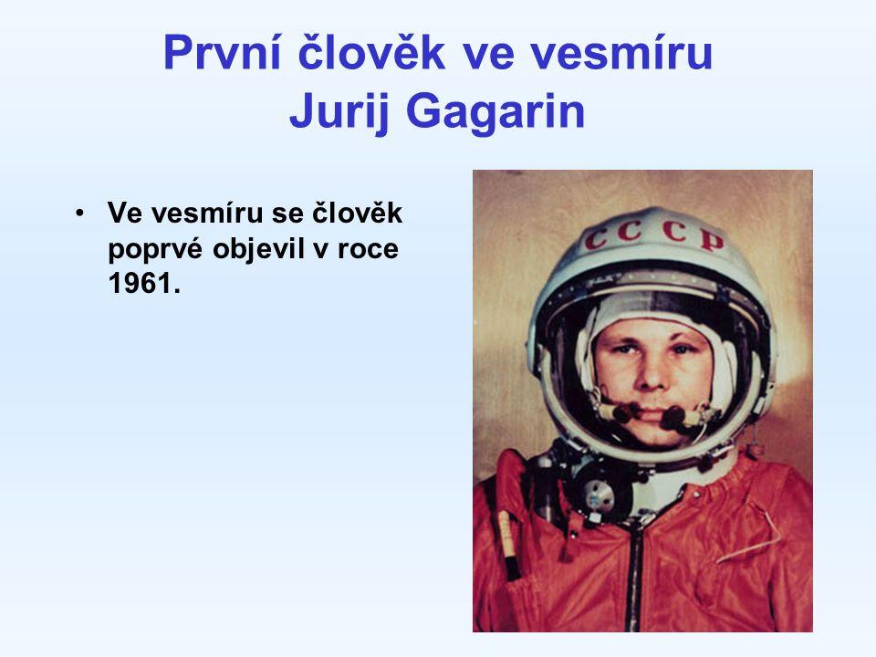 První člověk ve vesmíru Jurij Gagarin Ve vesmíru se člověk poprvé objevil v roce 1961.
